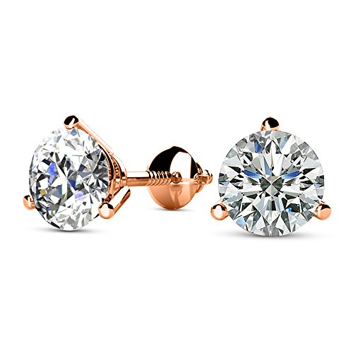 1 Carat 14K Rose Gold Solitaire Diamond Stud Earrings Round Brilliant Shape 3 Prong Screw Back (J-K Color, VS1-VS2 Clarity)