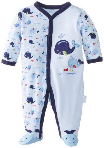 Vitaminas Baby Baby-Boys recién nacido Mono Footed de ballena, azul, 3 Meses