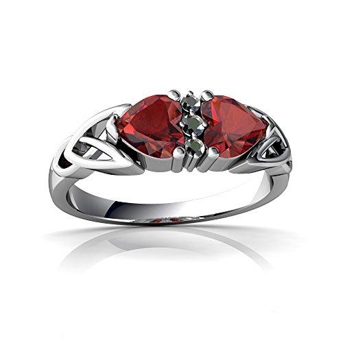 14kt White Gold Garnet and Diamond 5mm Heart Celtic Trinity Knot Ring - Size ()