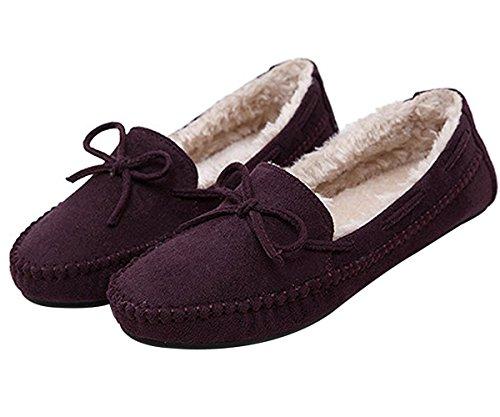 Shoes Winter Purple 0 Flat US7 House Warm Omerker Women's Black Fur Faux Slippers 68xwq7p5q