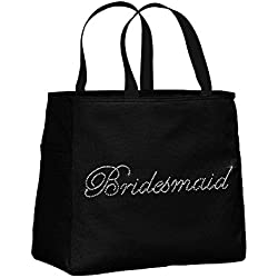 Bridesmaid Rhinestone Embellished Black Tote Bag for Wedding Shower, Bachelorette Party, or Wedding day