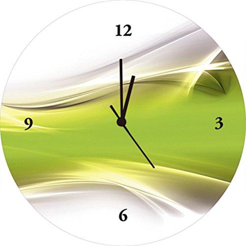 Artland Qualitätsuhren I Funk Wanduhr Designer Uhr Glas Funkuhr Größe: 35 Ø Gegenstandslos Grün I8NG