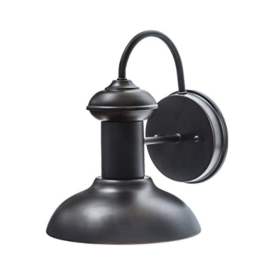 "Globe Electric 40190 Wall Sconce, 9.75"", Oil Rubbed Bronze - Indoor/outdoor compatible: suitable for any environment this piece is fully water resistant and versatile Dimmable: fully dimmable with compatible dimmer switch to create the perfect atmosphere Easy install: includes all mounting hardware for quick and easy installation - patio, outdoor-lights, outdoor-decor - 41tNxqWMOLL. SS570  -"