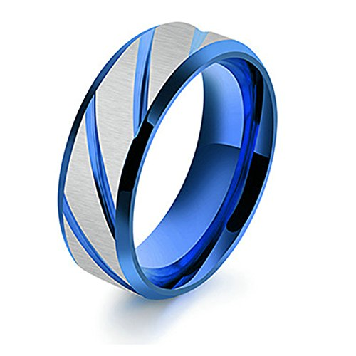 MoAndy Jewellery Titanium Stainless Steel Men's Fashion Ring Stripes Patterned Blue US Size 8