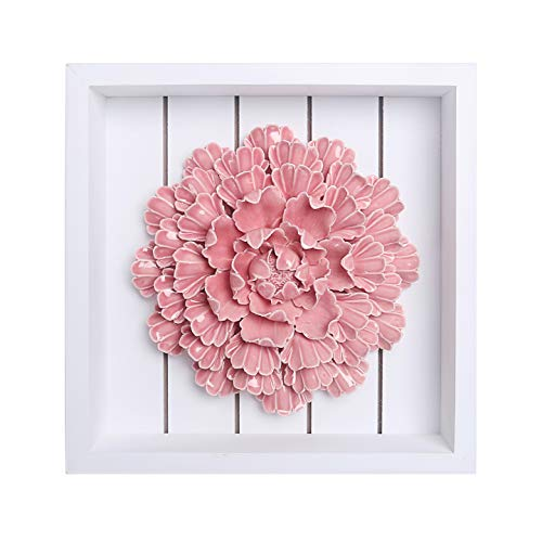 Bico Handcrafted Stoneware Pink Peony Flowers Sculpture with Wooden Frame Wall Decoration, 3D Wall Art, House Warming Anniversary Wedding Gift, for Foyer, Dining Room, Bedroom, Living Room ()