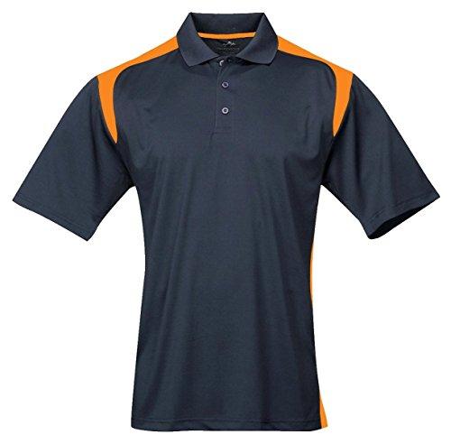 Tri-Mountain 145 Blitz UltraCool Moisture Wicking Antimicrobial Shirt, Navy/Orange, Large