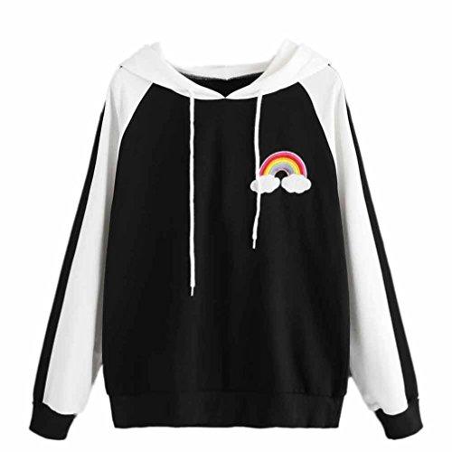Embroidered Hoody Tunic - TLoowy Women Teen Girls Cute Rainbow Embroidered Hoodie Sweatshirt Long Sleeve Cozy Tunic Pullover Tops (Black, S)