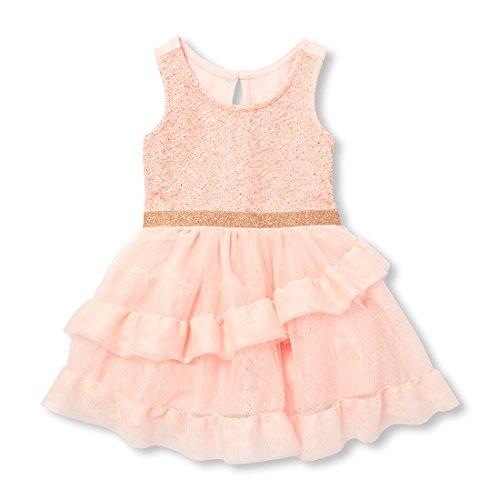 The Children's Place Baby Girls Glitter Pink Jaquard Dress, Rosewater, 6-9MONTHS Childrens Place Girls Glitter