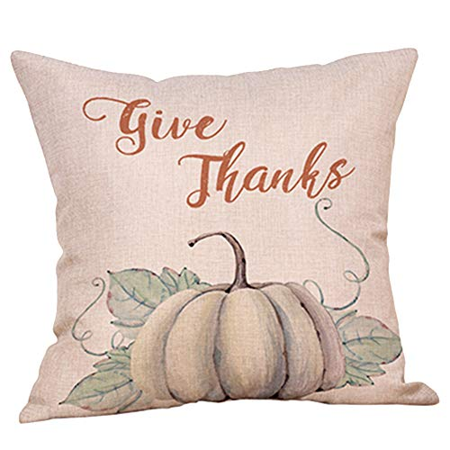 GATELEE Hello Autumn Pillow Covers Pumpkin Spice Home Decor Cotton Linen Throw Pillow Case Cushion Cover Square 18''x18'' Pillowslip Quotes (03 Give Thanks) for $<!--$7.48-->