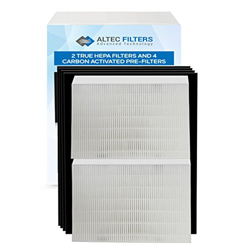 Altec Filters True HEPA Premium Quality Replacement Filters for Honeywell HPA200 Air Purifier, 2 True HEPA Filters Plus 4 Activated Carbon Prefilters HW HRF-R2 HRF-AP1 HPA204 HPA250B Filter R