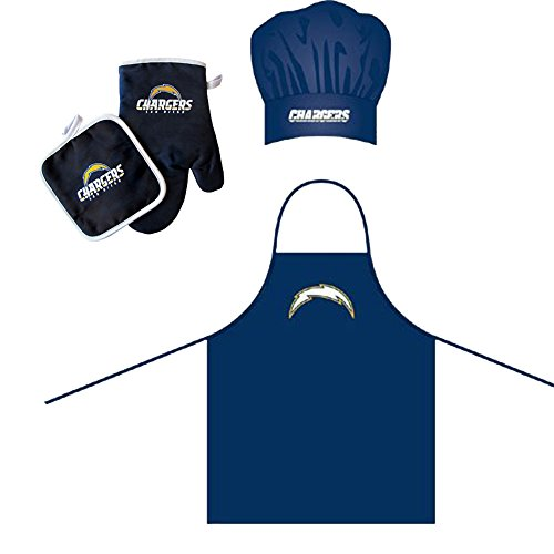 San Diego Chargers NFL Barbeque Apron, Chef's Hat and Pot Holder Deluxe Set (San Apron Diego Chargers)