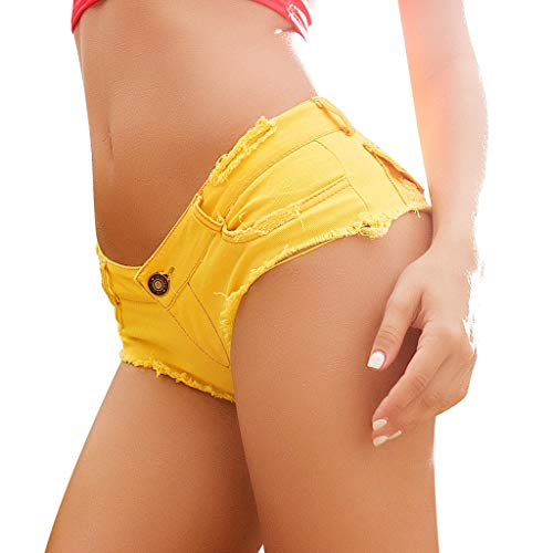 TIFENNY Sexy Short Jeans for Women Denim Jeans Low Waist Super Mini Shorts Pants 2019 New Mini Jeans Yellow -