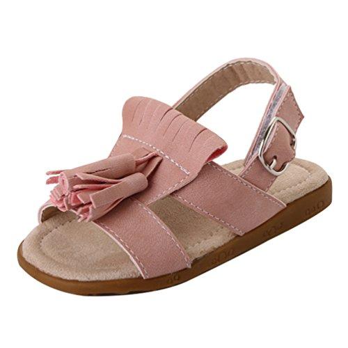 CHENGYANG Mädchen Kinder Sandalen Quaste Schön Rutschfest Oxford Sohle Prinzessin Schuhe Pink