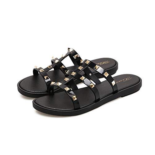 Joy & Lemon Womens Strappy Open Toe Mules Sandal Flats Studded Bow Flip Flops Slippers Summer Beach Rain Jelly Shoes (9 B(M) US Black, Black) ()