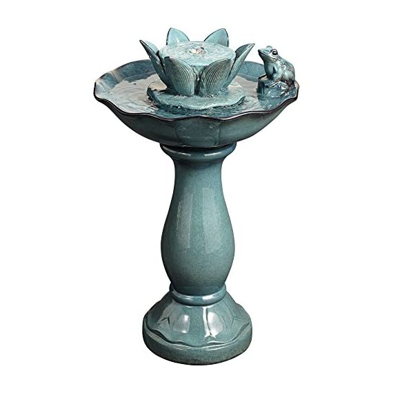 """John Timberland Pleasant Pond Frog Lotus Modern Outdoor Floor Water Bubble Fountain 25 1/4"""" High Scalloped Pedestal Bowl for Yard Garden Patio Deck - 25 1/4"""" high x 15 1/2"""" wide. Weighs 19.8 lbs. Outdoor pedestal ceramic fountain with frog and lotus flower. By John Timberland. Charming lotus and frog motif. Water bubbles up from center water flower. Makes a wonderful accent for gardens or patios. - patio, outdoor-decor, fountains - 41tNzPOqLZL. SS570  -"""