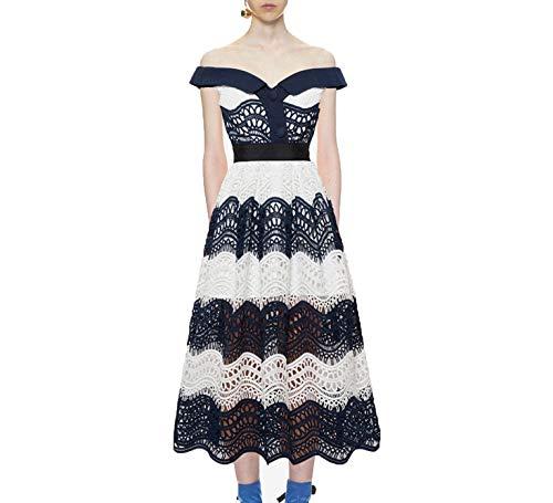 Portrait Dress Party (Party Dress 2018 Self Portrait Chic Fashion Lady Lace Long Strapless Dress,Blue,S)