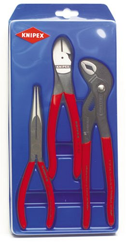 Knipex 267487 3 Piece 8-Inch Long Nose Plier, 8-Inch Diagonal Cut Plier and 10-Inch Cobra Plier ()