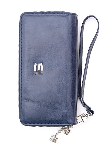 Giudi Women's Italian Handmade Leather Organizer Wristlet Wallet, Navy Blue by Elizabetta