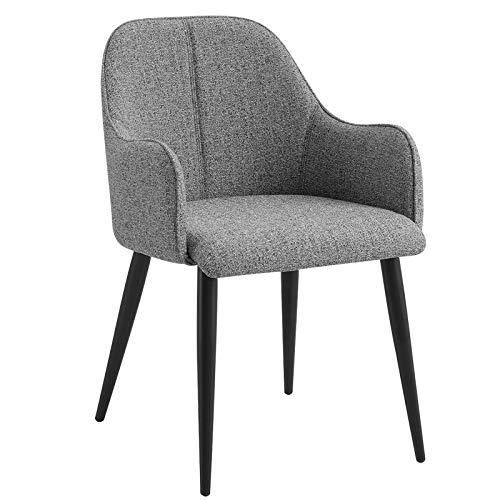 WOLTU Dining Chairs Set of 2 pcs Kitchen Counter Chairs Lounge Leisure Living Room Corner Chairs Dark Grey Velvet Reception Chairs with Arms and Back Support