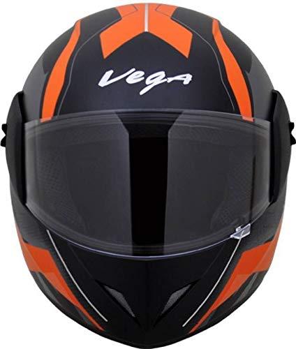 Vega Cliff Dx Adventure Motorbike Helmet  Matt Black and Orange, Medium
