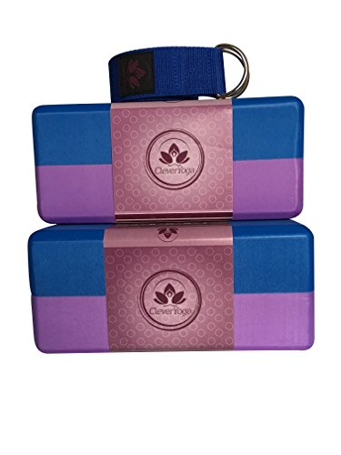 Yoga Blocks and Strap Set - 2 Pack Foam Yoga Block 9x6x4 and 1 Yoga Strap for Stretching 8ft (Purple/Blue/Blue)