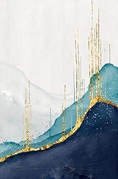Cuadro En Lienzo Pintura Al Óleo Abstracta Sobre Lienzo Cartel E Impresión Arte De La Pared Cuadros Abstractos Dorados Y Azules Para La Sala De Estar Decoración Del Hogar 30X45Cm Sin Marco Pc10272-3