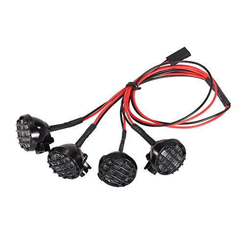 Goolsky 4 LED White Lights with Lampshade Roof Light Search Lamp for 1/10 1/8 Traxxas HSP Redcat RC4WD Tamiya Axial SCX10 D90 HPI RC Rock Crawler