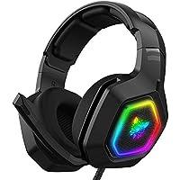 Audífonos Gamer Auriculares para juegos, estéreo bajo envolvente RGB con cancelación de ruido, auriculares con micrófono…