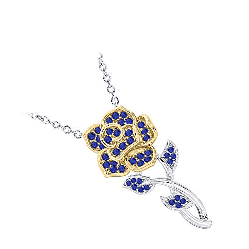 RUDRAFASHION Beautiful Rose Floral Pendant Necklace Blue Sapphire 14k White & Yellow Gold Over .925 Sterling Silver for Womens