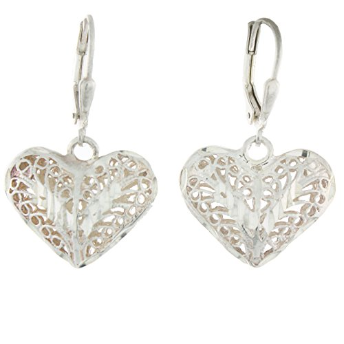 (Sterling Silver Puffy Filigree Diamond-cut Heart Leverback Earrings)