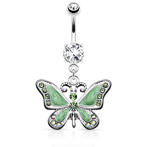 Butterfly Dangle with Gems Freedom Fashion 316L Surgical Steel Navel Ring