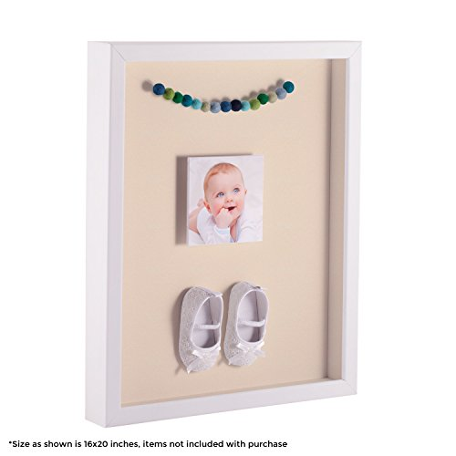 - ArtToFrames 8.5 x 14 Inch Shadow Box Picture Frame, with a Satin White 1'' Shadowbox Frame and Alabaster Mat