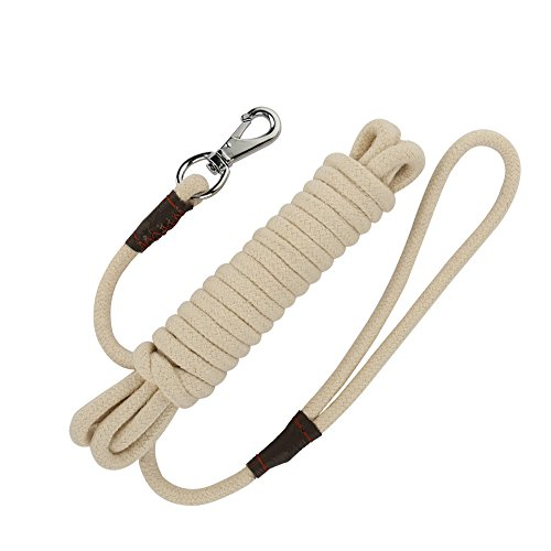 PepPet Pet Supply Cotton Training Leashes Rope Pet Supply Dog Puppy Obedience Recall Training Agility Lead 16 Ft Beige by PepPet