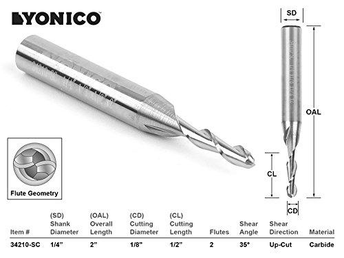 Yonico 34210-SC CNC Router Ball Nose Solid Carbide Bit, 1/8 x 1/2 x 1/4 x 2