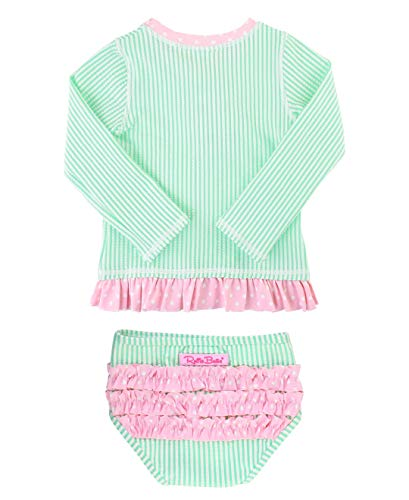 Infant Girls Long Sleeve Top - RuffleButts Baby/Toddler Girls Mint Seersucker Long Sleeve Rash Guard Bikini - 3-6m