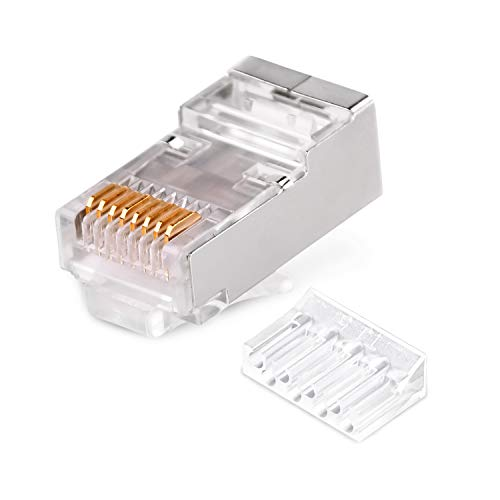 CAT6 2-Piece Metal Shielded RJ45 Plug Connector FTP 8P8C Modular Network Plug Connector 50set (2pcs/Set 50set) ()