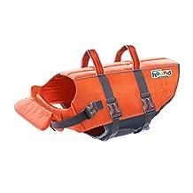 Outward Hound Kyjen 22021 Ripstop Dog Life Jacket Quick Release Easy-Fit Adjustable Dog Life Preserver, Large, Orange.
