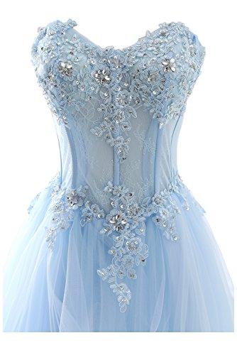Blau Romantisch Spitze Damen Herzform Ivydressing Ballkleider Lang Abendkleider Hochzeitskleid Cq8p55