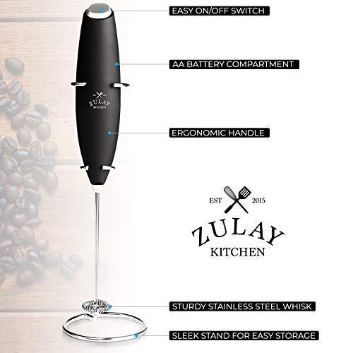 Zulay High Powered Milk Frother Handheld Foam Maker for Lattes - Great Bulletproof Coffee Electric Whisk Drink Mixer, Mini Blender and Foamer Perfect for Cappuccino, Frappe, Matcha, Hot Chocolate by Milk Boss