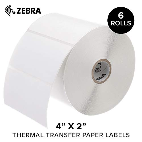 Zebra - 4 x 2 in Thermal Transfer Paper Labels, Z-Perform 2000T Permanent Adhesive Shipping Labels, Zebra Desktop Printer Compatible, 1 in Core - 6 Rolls