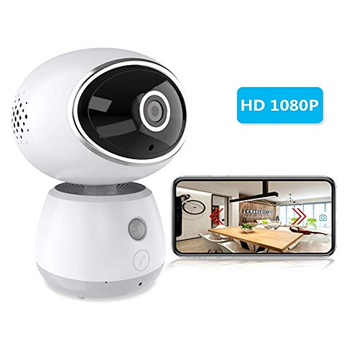 ERAY WiFi IP Dome Camera 1080P, Wireless Baby Monitor Dog Cat Pet Motion Camera Security Surveillance Cameras, Support One-Button Call, Night Vision, Two-Way Audio, Mobile APP – White