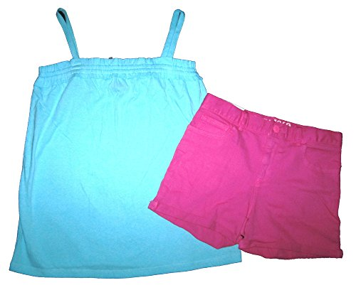 Gap Kids Girls Blue Cami Top & Bright Pink Classic Denim Shorts 12