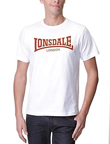 Lonsdale London Original Two Tone Flock Logo Jersey, UK Fashion tee, Slim-Fit, White Size - 2012 T-shirt London