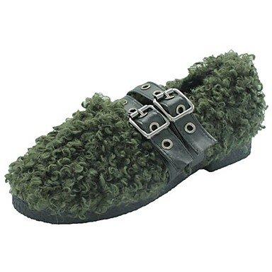 US7.5   EU38   UK5.5   CN38 vert Wuyulunbi@ Chaussures femmes de confort d'hiver ApparteHommests Talon plat bout rond kaki pour l'extérieur