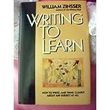 Writing to Learn, William K. Zinsser, 0060158840