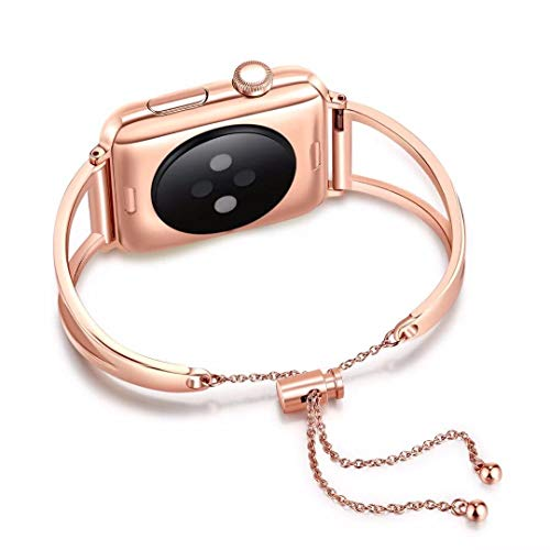 WONMILLE Bracelet for Apple Watch Band 38mm, Classy Stainless Steel Jewelry Bangle for iWatch Bands Strap Wristbands Unique Fancy Style for Women Girls with Pendant and Tassel (Rose Gold-38mm)