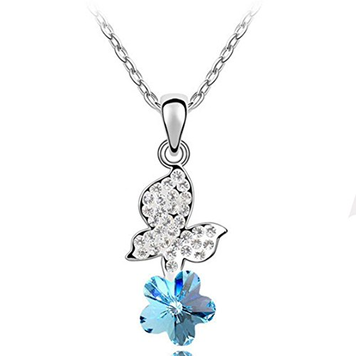 [LuxuryLady Flower Simple Fashion Women Female Necklace(C1)] (Blue Monarch Butterfly Costume)