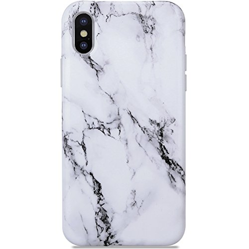 iPhone X Case Marble Black and White, KINFUTON iPhone X Phone Case,Slim Fit Glossy TPU Soft Rubber Silicon Gel Mobile Phone Case Protective Cover for iPhone X - Mobile Silicone White