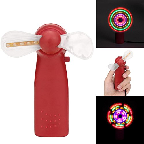 Gbell Kids Portable Cool LED Glowing Fan - Educational Toys Party Toy Gift for Kids Toddlers Boys Girls (Red)
