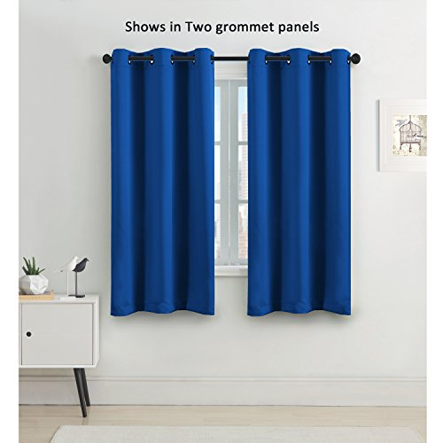 FlamingoP Blackout Room Darkening Solid Pattern Drape, Thermal Insulated,  Grommet Top, Single Panel 42 X 63 Inch In Royal Blue